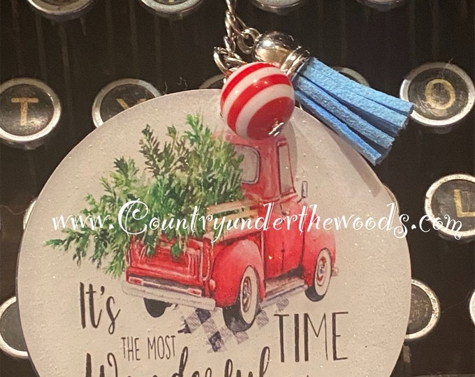 Christmas Keychains, Red Truck Key Chain,Key Chain, Christmas Key Chain, Hand Made, personalization, Unique Gift, Funny keychains
