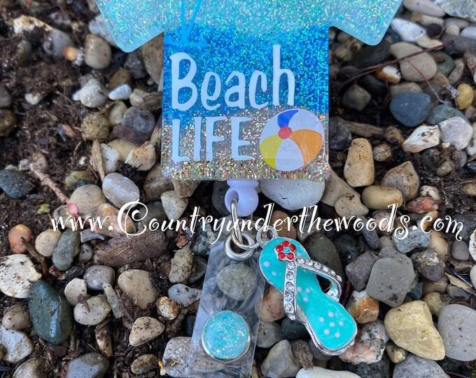 Beach Life ,ID Badge Reel,,Retractable,Nurse Badge Reel, Scub Life  Badge Reel, Nurse Badge Reel,Nurse gift, medical Badge reel, Handmade