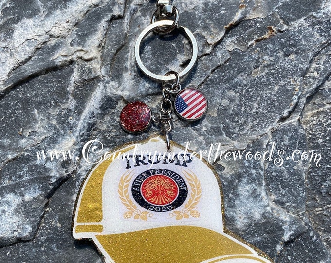 American KeyChains, Custom Made, President Election ,Great Gift, Handmade ,Unique gift, Personalize, 2020 Keychain, Ball Cap keychain