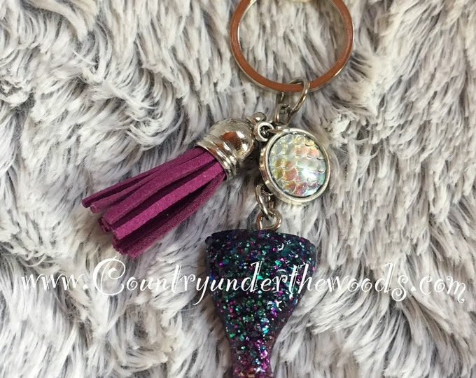 Mermaid Tail Purse Bling , Ocean Theme, Charms, Lobster Clamp, keychain, Handmade,