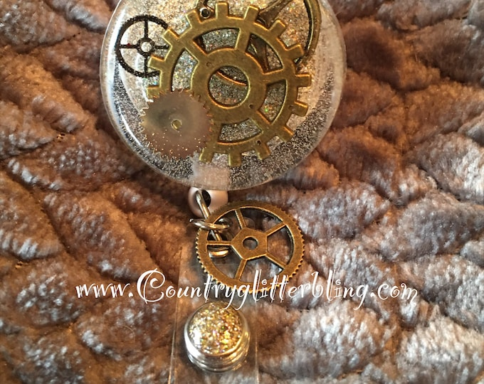 Steam Punk Badge Reel , badge holder, badge reel, ID badge holder, Unqiue, Retractable badge reel, Aligator clip, Nurse badge reel