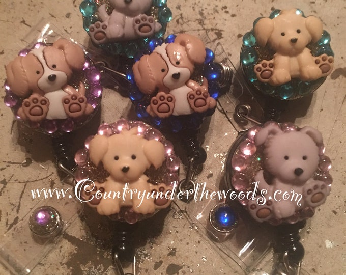 Cute Little Puppy on a Retractable ID Badge Holder/Animal Badges/Dog Badge Reel/Nurse Badge/Vet tech Gifts/Pediatric Nursing/ Veterinarian