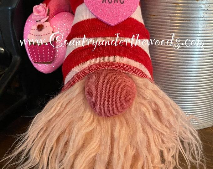 Valentine Gnomes, Sock  Gnome, Valentine Decor, Holiday Decor, Mantle Decor, Unique Gift, Handmade, Farmhouse decor,Made to order, Gnome