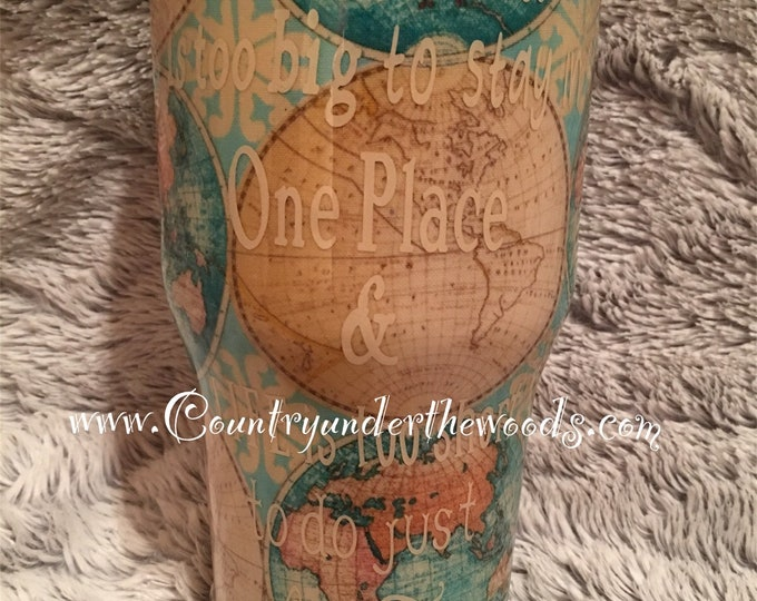 World Travel Fabric Tumble, custom Made. Made to order, personalization, Unique gift, your choose of fabric