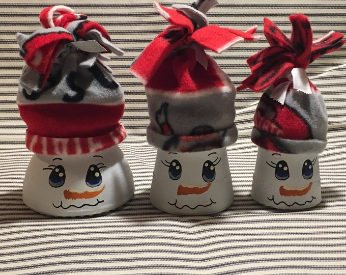 Antique Insulator Snowmen/Ohio State/Hand Painted/Glass/Telephone Pole/Fleece Hat/Snowman/