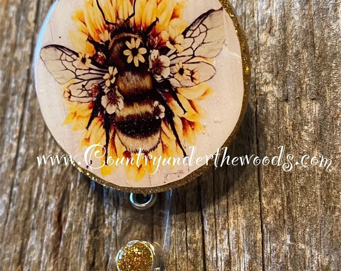 Bee Badge Reel, Sunflower, Gnome, Inspirational Quotes, Medical Badge Reel, Teacher Badge Reel, Free Shipping, Alligator Clip, Retraceable