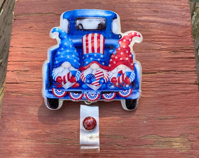 4th of July Truck w gnomes badge reel, ID Badge Reel Clip Holder, Retractable, Nurse Badge Reel, Nurse gift, medical Badge reel
