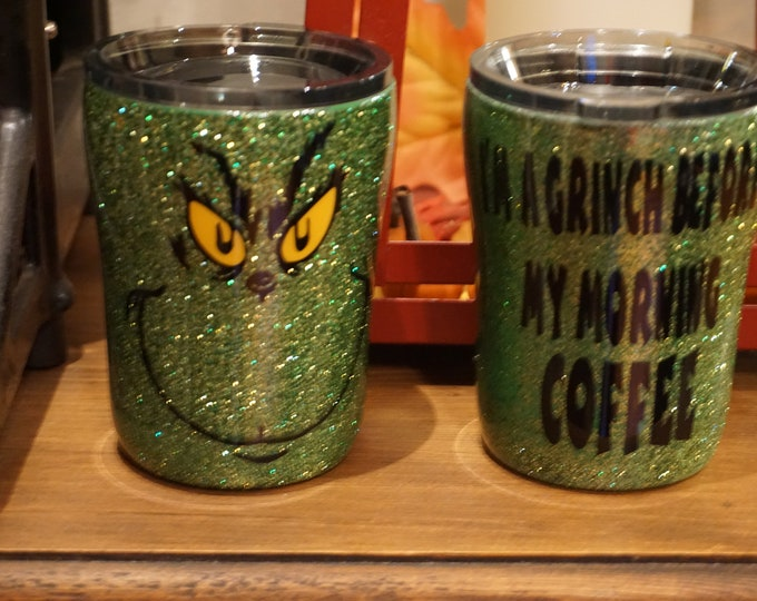 Your A Mean One 10oz Tumbler, Green Glitter Wine Glass, Unique, Handmade