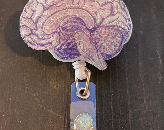 Brain badge reel, ID Badge Reel Clip Holder, Retractable, Nurse Badge Reel, Nurse Badge Reel, Nurse gift, medical Badge reel, Handmade