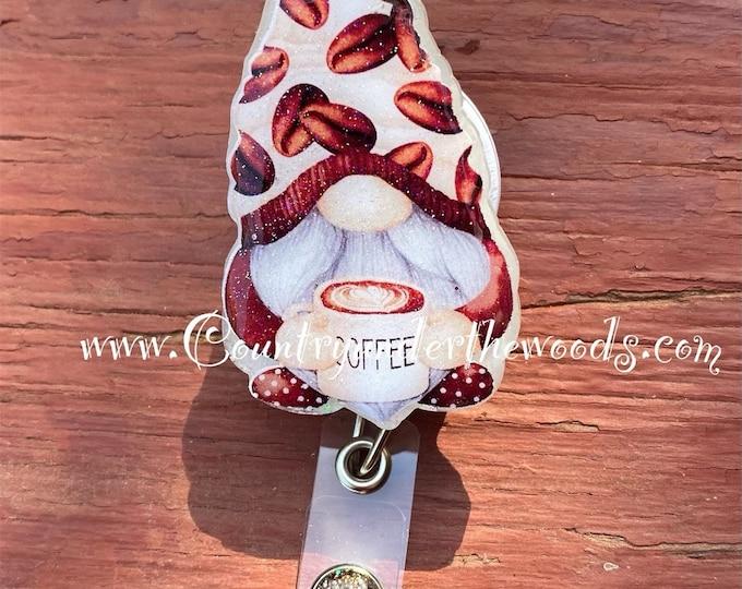 Coffee Cup gnome badge reel, ID Badge Reel Clip Holder, Retractable, Nurse Badge Reel, Nurse gift, medical Badge reel, Coffee Theme