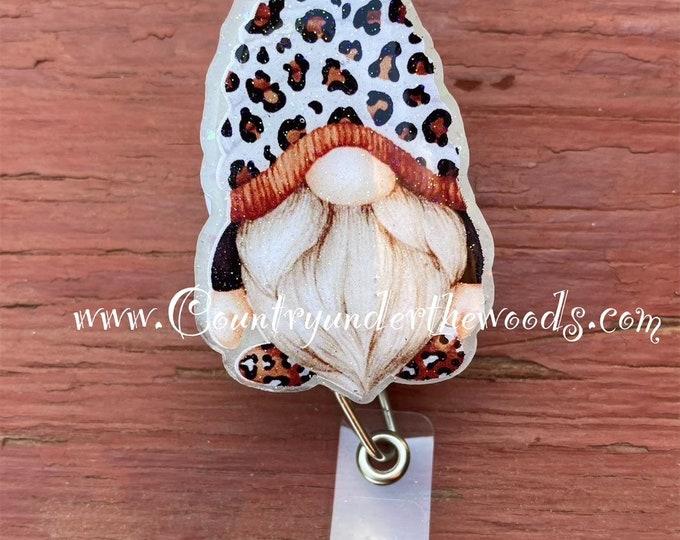 Leopard gnome badge reel, ID Badge Reel Clip Holder, Retractable, Nurse Badge Reel, Nurse gift, medical Badge reel, Leopard Theme badge reel