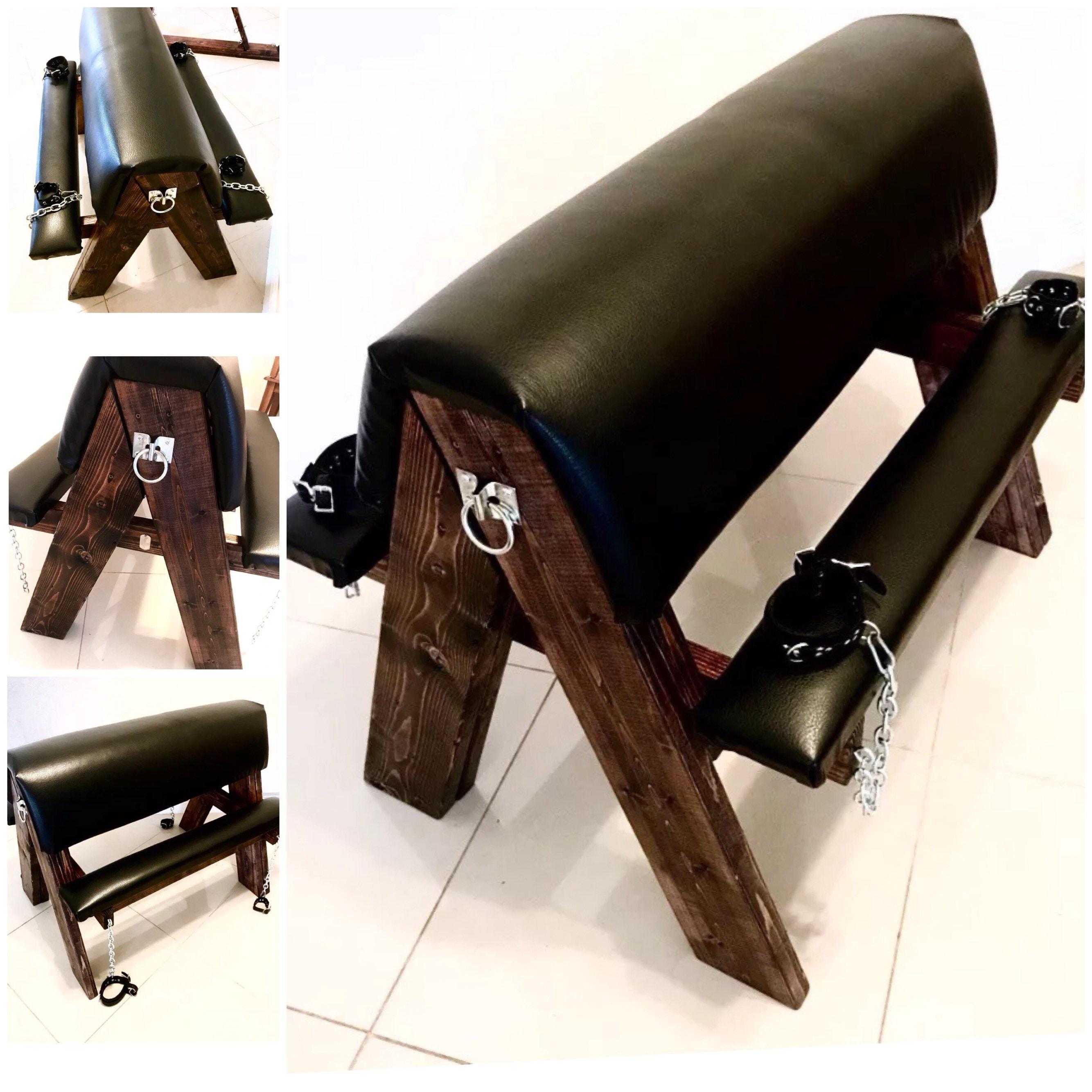 Bdsm Dungeon Furniture Upholstered Handmade Wood Spanking Horse Sex Bench