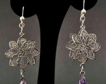 Handmade silver filigree lotus flower earrings and natural hard stones