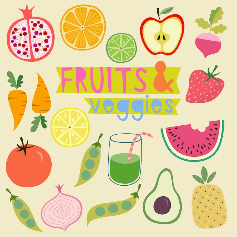Fruits Veggies Clipart Green Smoothie Clipart Pomegranate Etsy