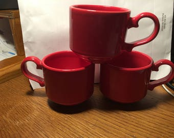 Syracuse China     3 Festive Red cups