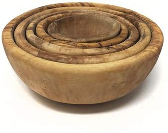 AramediA Stackable Handcrafted olive wood Bowls for Salad, Pasta, Fruit - Kitchen Bowl Set
