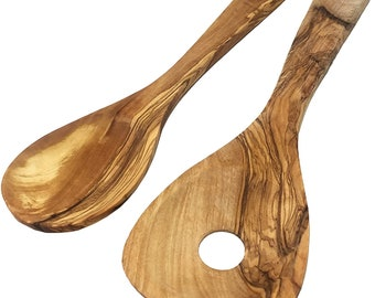 AramediA Handmade Wood Spoons Cooking & Serving Utensil - Set of 2 Pieces -Handmade and Hand Carved By Artisans- 12 inch