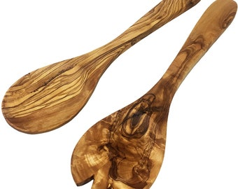 AramediA Handmade Wood Spoons Cooking & Serving Utensil - Set of 2 Pieces -Handmade and Hand Carved By Artisans- Approximately 12 inches