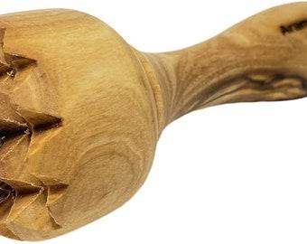 AramediA Handmade Olive Wood Meat Tenderizer - Garlic Crusher - Smasher - Potato Masher, Hand Crafted by Artisans - 6.25 Inches