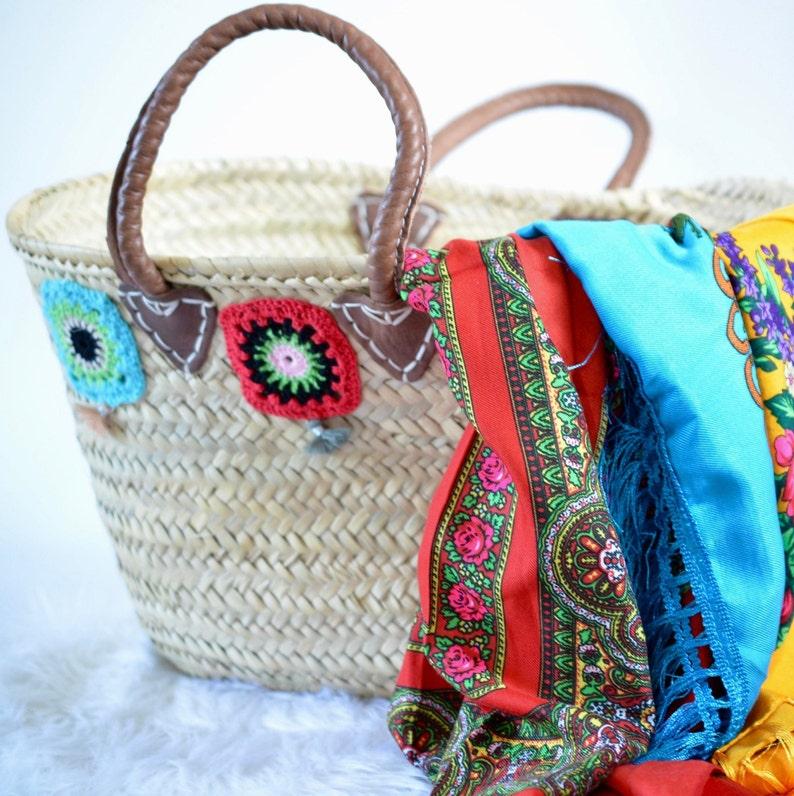 Medium basket boho basket to do your shopping or go to the beach