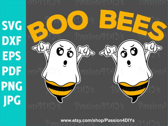 Boo Bees Halloween Breast Cancer Svg Ghost Svg Boo Bees Etsy