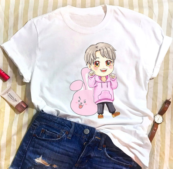 Bts Unisex White T Shirt Jungkook Jeon With Bt21 Cooky Chibi Etsy