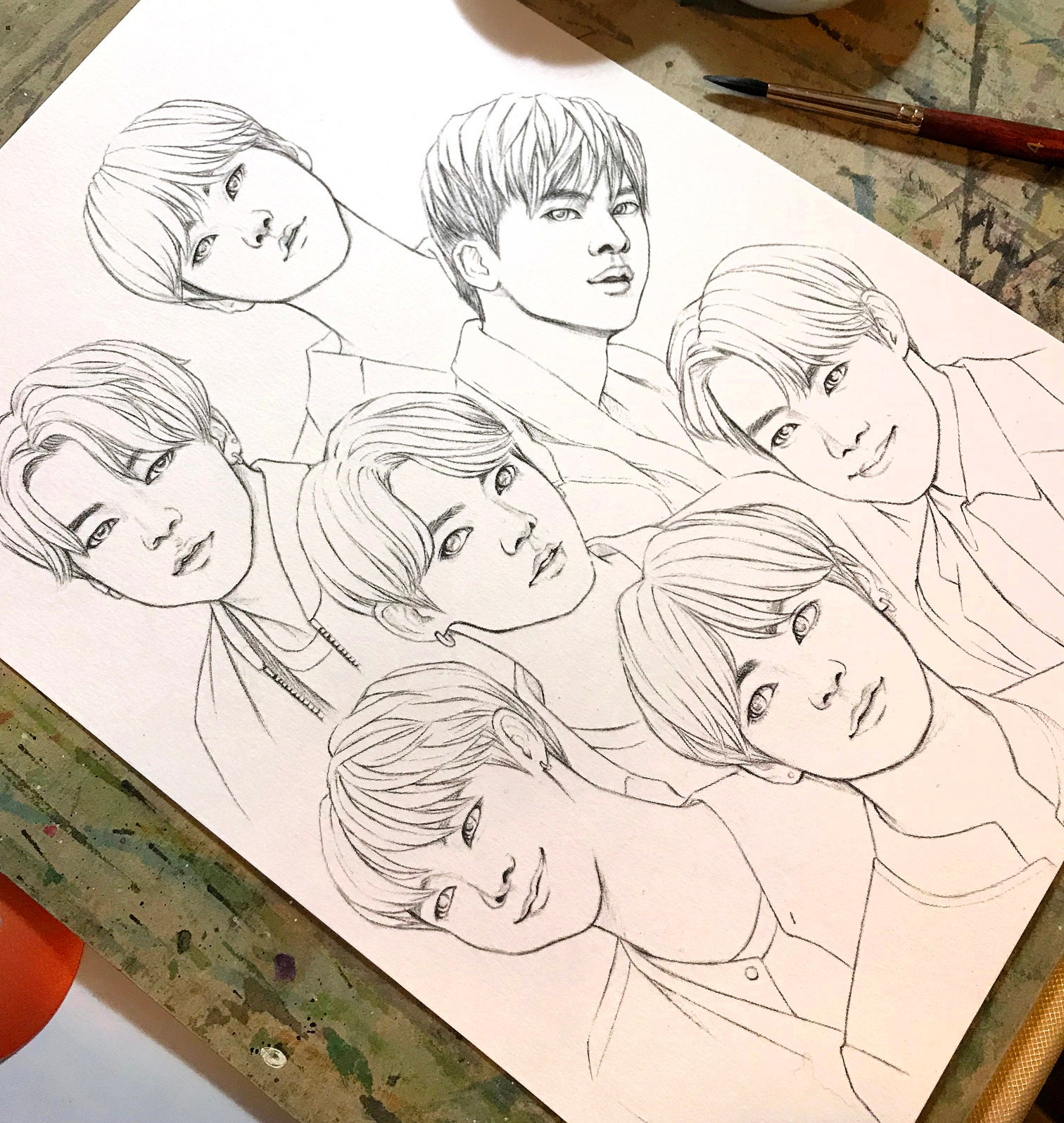 BTS Coloring pages, 32 BTS realistic drawings of fantasy on heavy weight  paper 32x32 inch