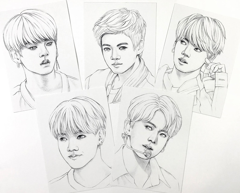 BTS Coloring pages 10 BTS Jungkook Jeon realistic drawings on heavy weight paper 5x7 inch