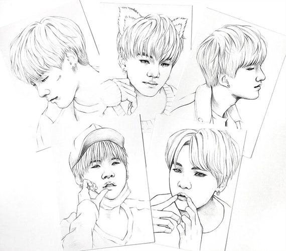 Bts Coloring Pages 10 Bts Suga Yoongi Min Realistic Drawings Etsy
