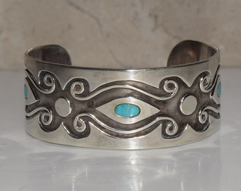 Vintage Sterling Silver Turquoise Inlay Accent Geometric Scroll GP Signed Navajo Cuff Bracelet
