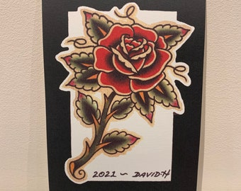 Traditional Rose Old School A5 Tattoo Flash Print