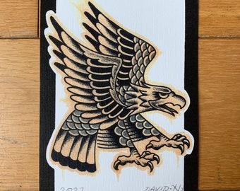 Traditional A5 Eagle Old School Tattoo Flash Print