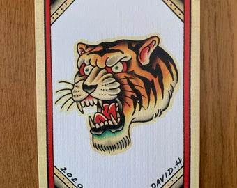 Traditional Tiger A5 Old School Tattoo Flash Print