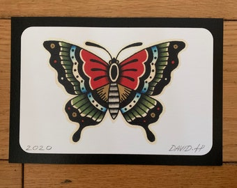 Traditional Butterfly Old School A5 Classic Tattoo Flash Print