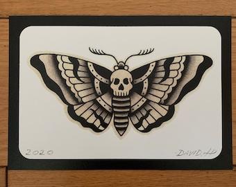 Traditional Death Head Moth Classic A5 Old School Tattoo Flash Print