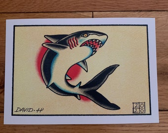 Traditional Shark A5 Classic Old School Tattoo Flash Print