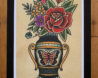 Traditional Floral Old School Butterfly Vase A4 Tattoo Flash Print