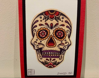 Traditional Sugar Skull A5 Old School Day Of The Dead Tattoo Flash Print