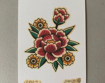 Traditional Peony Old School Floral Tattoo Flash A5 Print