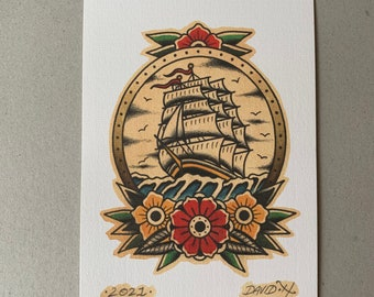 Traditional Ship Old School Floral Tattoo Flash A5 Print