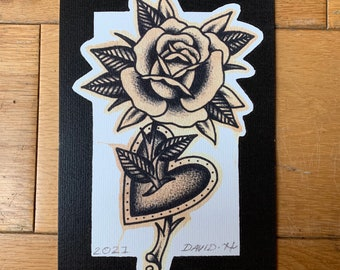 Traditional A5 Rose Heart Old School Tattoo Flash Print