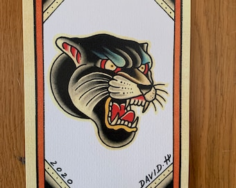 Traditional Panther A5 Old School Tattoo Flash Print