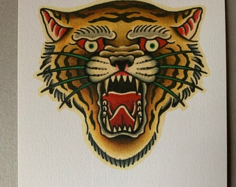 Traditional Tiger Old School Tattoo Flash A5 Print
