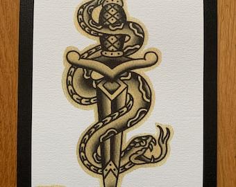 Traditional Snake Dagger Old School Tattoo Flash A5 Print