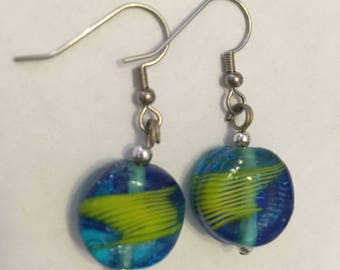 Blue and green glass bead earrings