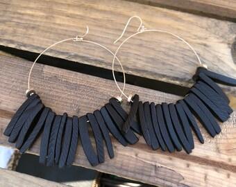Black Earrings - Coconut Stick Earrings - Hoop Earrings - Black Wood Earrings - Gift for Mom - Mothers Day Gift - Gift Mom