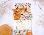 Beeswax Wrap Starter Pack - Reusable Food Wrap - Eco Friendly Gifts - Organic Wax Wraps - Honey Bee Present for Her