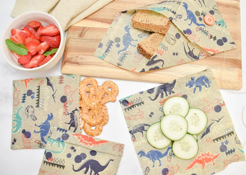Beeswax Food Wraps  Kids Lunch Set  Dinosaurs  Back To image 0