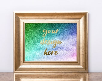 Download Free Gold Frame mockup, Horizontal frame mock-up, Poster mockup, Frame gold, Poster frame, Empty frame, Styled frame, Gold poster mock-up, 3x4 PSD Template