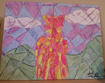 Winged Wolf Cubism Painting